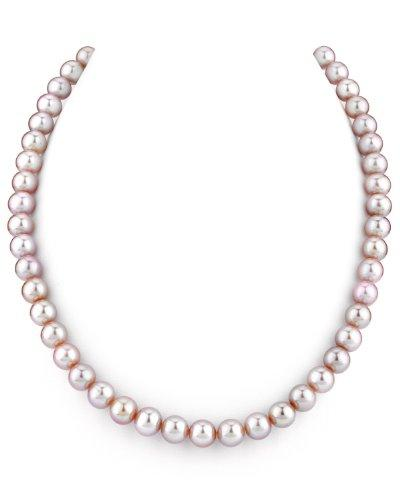14K Gold 7-8mm Pink Freshwater Cultured Pearl Necklace, 17 Inch Princess Length