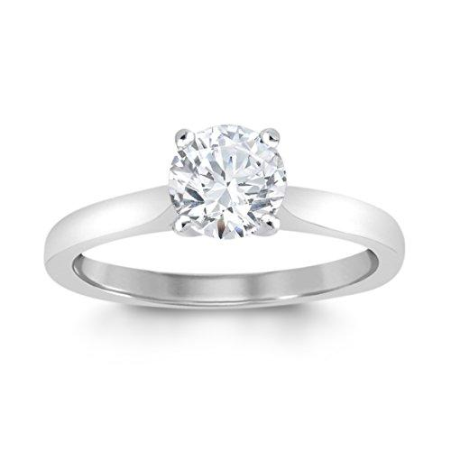 Perfect Love Diamond Collection Women's 18 ct White Gold Round Solitaire Diamond Engagement Ring, Certified Ideal Cut 0.75 ct