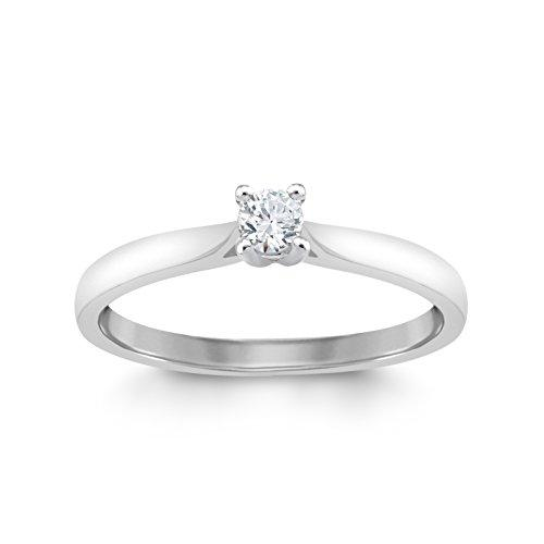 Perfect Love Diamond Collection Women's 18 ct White Gold Round Solitaire Diamond Engagement Ring, Certified Ideal Cut 0.1 ct