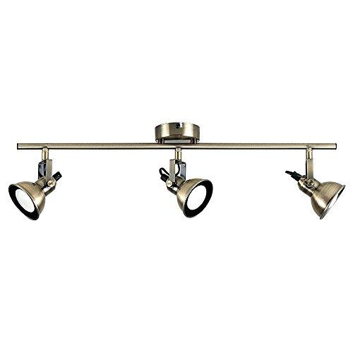 Modern 3 Way Adjustable Domed Heads Straight Bar Ceiling Spotlight in an Antique Brass Finish