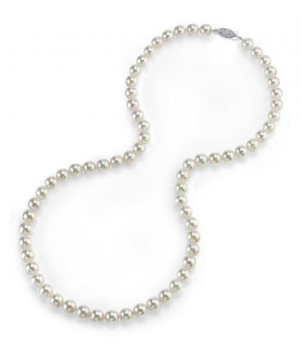 "14K Gold 5.0-5.5mm Japanese Akoya White Cultured Pearl Necklace - AAA Quality, 18"" Princess Length"