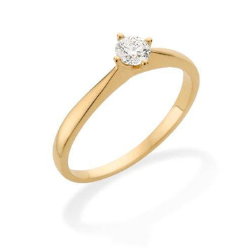 Miore Engagement Ring, 18ct Yellow Gold VS/G Round Brilliant Diamond, 0.25ct Diamond Weight - Size O 1/2