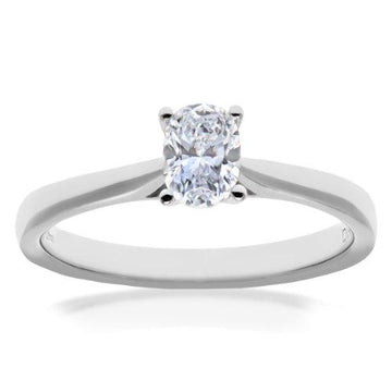 Naava Women's Platinum 4 Claw F/VS2 EGL Certified Princess Cut 0.71 ct Diamond Gallery Set Solitaire Engagement Ring, Size P
