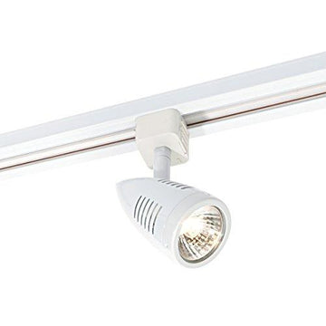 Multi Directional Bullet Design Gloss White Finish Mains Track GU10 LED Compatible Adjustable Spotlight Track Head Light
