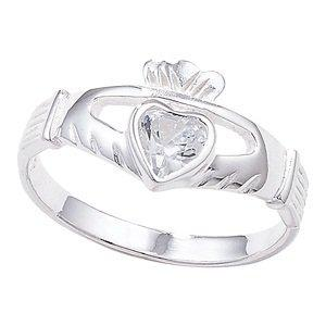 Unique Wishlist Sterling Silver Cubic Zirconia Fancy Claddagh Design Ring - R *SR130A
