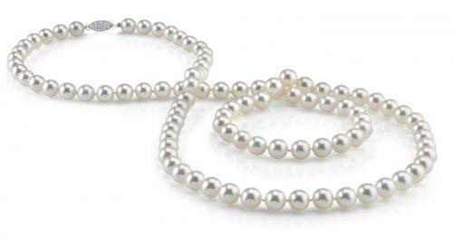 14K Gold 7-8mm White Freshwater Cultured Pearl Necklace, 36 Inch Opera Length