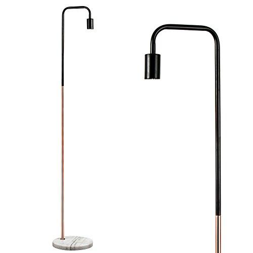 Retro Style Black and Copper Metal Floor Lamp with a White Marble Base