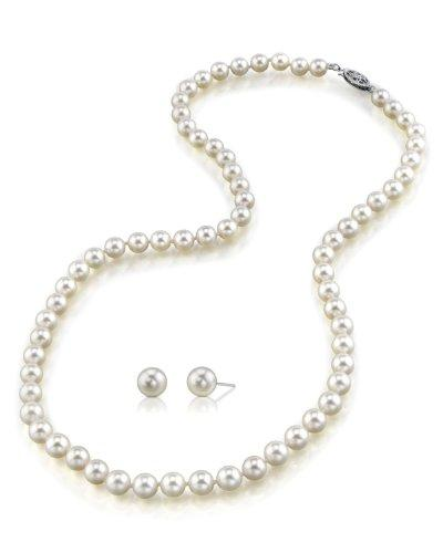 "6.0-6.5mm White Akoya Cultured Pearl Necklace & Matching Earrings Set, 17"" Princess Length - AA+ Quality"