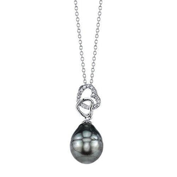 10mm Baroque Shaped Tahitian South Sea Cultured Pearl & Crystal Diamond Heart Pendant