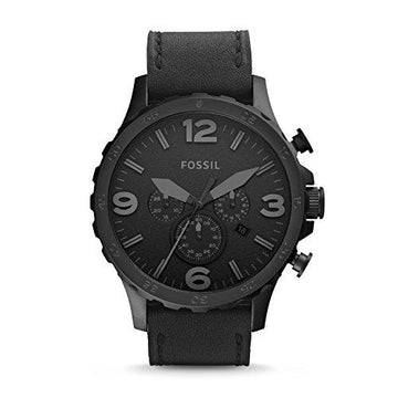 FOSSIL Nate Chronograph Black Leather Watch with Quartz Movements/Analogue Men's Watch with Black Leather Strap and Round Stainless Steel Case - 5 ATM Water resistant