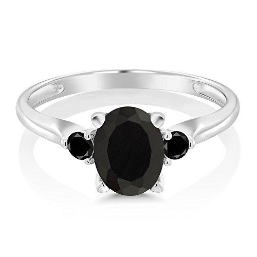10K White Gold 1.38 Ct Black Onyx Black Diamond 3-Stone Ring