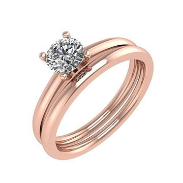 IGI Certified 14K Gold Diamond Engagement Wedding Ring Bridal Set (1/4 carat) (14ct Rose Gold, T 1/2)