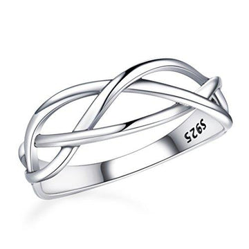 SELOVO 925 Sterling Silver Ring Celtic Finger Ring Knot Band L 1/2, N 1/2, P 1/2, R 1/2, T 1/2,