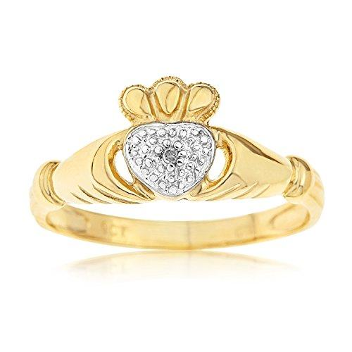Kareco 9ct Yellow Gold Ladies' Diamond Set Celtic Claddagh Ring Size M