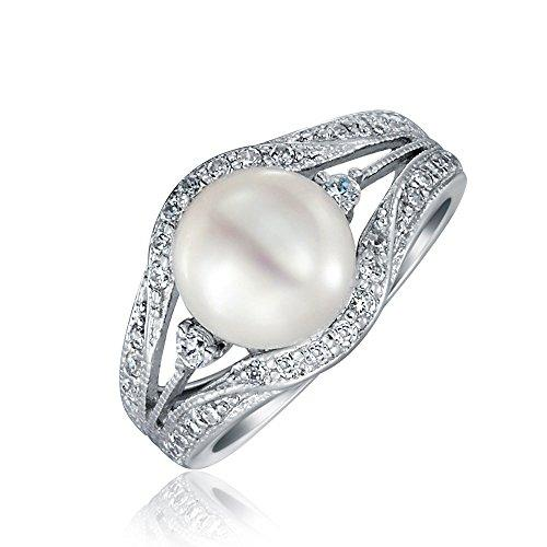 Bling Jewelry .925 Silver Vintage Style 9mm Freshwater Cultured Pearl Engagement Ring