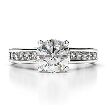 G-H/VS 0.80 Ct Round Cut Certified Diamond Engagement Ring in Platinum 950 AGDR-1224