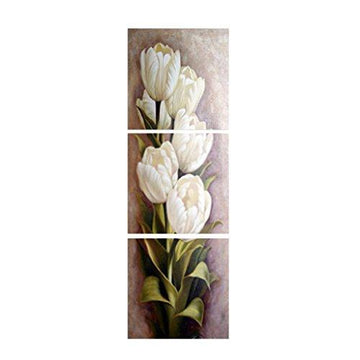 MagiDeal 3 Panels Tulip Flower Canvas Painting Prints Picture Wall Art Decor - White, XL