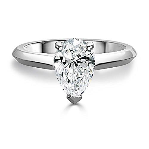 2.50 Ct Pear Moissanite Diamond Engagement Ring 14K White Gold Size J K L M N O P Q R S
