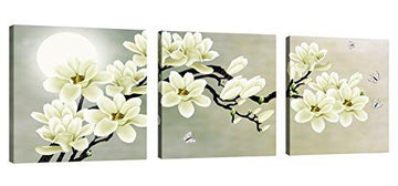 CUFUN Art – White Magnolia & Butterfly Under the Moon Modern Giclee Canvas Prints Paintings to Photo Printed Artwork for Wall Decor (30cm x 30cm x 3pcs)