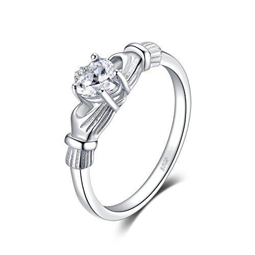 JewelryPalace Heart 0.7ct Irish Celtic Claddagh Sona Diamond Birthstone Promise Ring 925 Sterling Silver Size L