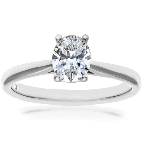 Naava Women's Platinum Four Claw Gallery Set F/VS2 EGL Certified Oval Cut 0.61 ct Diamond Solitaire Engagement Ring, Size O