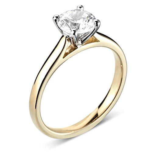 Abelini 1/5 Carat Certified I1/HI 100% Natural Round Diamond Solitaire Engagement Rings for Women In 9K Yellow Gold