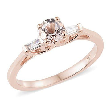 Moroppino Morganite, Zircon Ring in Rose Gold Overlay Sterling Silver 1 Ct