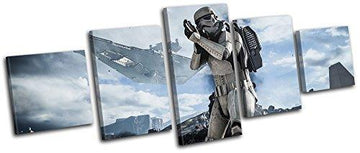 Bold Bloc Design - Star Wars Battlefront Gaming 150x60cm MULTI Canvas Art Print Box Framed Picture Wall Hanging - Hand Made In The UK - Framed And Ready To Hang
