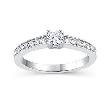 Perfect Love Diamond Collection Women's 18 ct White Gold Round Diamond Solitaire Ring with Diamond Shoulders Certified Ideal Cut 0.5 ct