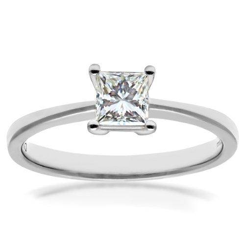 Naava Women's Platinum 4 Claw Gallery Set Solitaire Engagement Ring, G/VS1 EGL Certified Diamond, Princess Cut, 0.40ct
