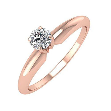 IGI Certified 14k Rose Gold Solitaire Diamond Engagement Ring Band (1/4 Carat)