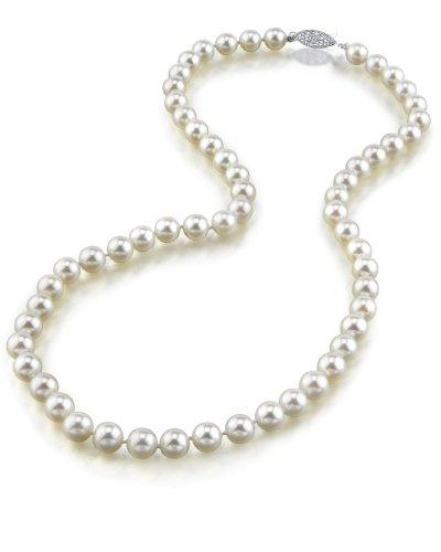 14K Gold 6.5-7.0mm Japanese Akoya White Cultured Pearl Necklace - AA+ Quality, 16