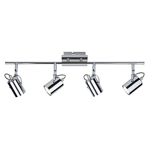 Biard Broadway 4 Way Adjustable Spotlight Bar Ceiling Light Fitting GU10 Chrome (LED Compatible) - Bedroom, Living or Dining Room