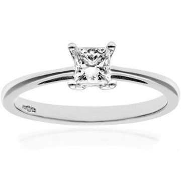 Naava Women's Platinum J/I Certified Princess Cut 0.33 ct Solitaire Engagement Ring, Size K