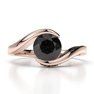 18Kt Rose Gold 1.20 Ct H-I Certified Round Cut Black Diamond Engagement Ring AGDR-1209