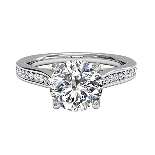 Womens Wedding Band Round Cut 1.00Ct Moissanite Hallmarked 14K White Gold Diamond Engagement Rings BIS Solid Gold Anniversary Gift Color H-I Clarity VVS1 Solitaire Diamond Size L M N I O P (N)