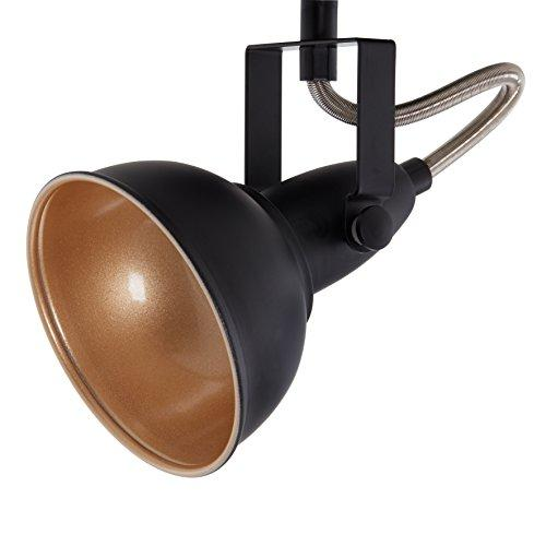 Briloner Leuchten Modern wall light, retro/vintage design, 3 rotatable spotlights, metall black-gold look, E14, IP20, max. 40 Watt, Length: 55.4 cm