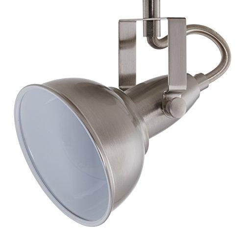 Briloner Leuchten 2049 Nickel Ceiling Light 6 x 3 Pan and Tilt Bar Spotlight Ceiling Light in Retro/Vintage Design, Bulb Type: E14 Maximum 40 Watt Metal Dimensions: 554 x 100 x 181 mm Paint Satin White 55.4 x 10 x 18.1 cm