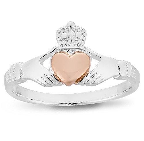 925 Sterling Silver and Rose Gold Claddagh Ring