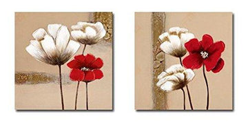 Wieco Art - Red and White Flowers Modern Framed Giclee Canvas Prints Artwork 2 Panels Abstract Floral Oil Paintings Style Pictures Photo Printed on Canvas Wall Art for Bedroom Home Decorations