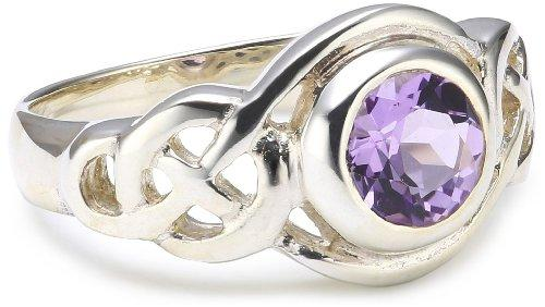 Heritage Women's Sterling Silver and Amethyst Celtic Round Knot Ring