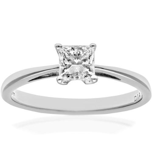 Naava Women's 18 ct White Gold Solitaire Engagement Ring, J/I Certified Diamond, Princess Cut, 0.50ct Size:P