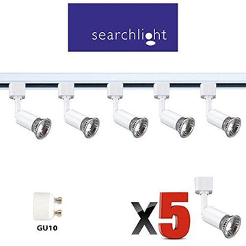 SEARCHLIGHT 240V GU10 WHITE TRACK LIGHTING 5 X SPOT LIGHTS - 5 X 50 WATT HALOGEN GU10 INCLUDED - 2 METRE LENGTH - GREAT KITCHEN LIGHT / OFFICE / SHOP LIGHTING - BRIGHT HALOGEN LAMPS 2,000 HOUR LIFE - STS