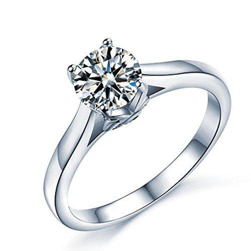 925 Sterling Silver Brilliant Round Cut Floral Solitaire Promise Forever Eternity Engagement Wedding Rings for women, teenage girls, Size UK M J L K N P Q R O S, with Gift Box, Ideal Gift for Lovers (M)