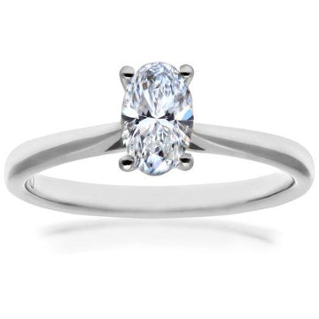 Naava Women's Platinum Four Claw Gallery Set G/SI1 EGL Certified Oval Cut 0.53 ct Diamond Solitaire Engagement Ring, Size P