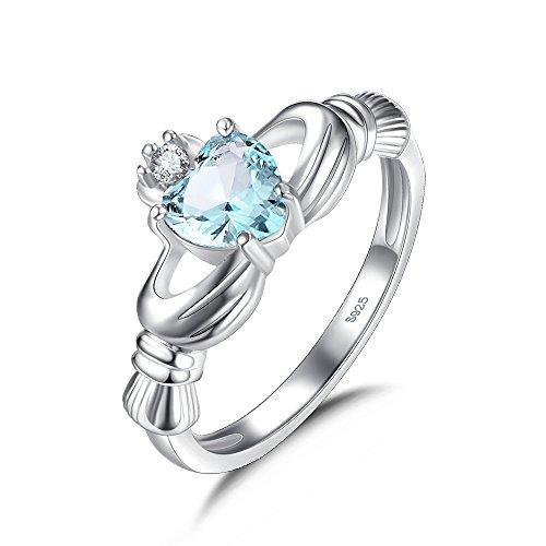 Oval Blue Crystal Zirconia Claddagh Ring for Women with Heart Shaped Stone (M)