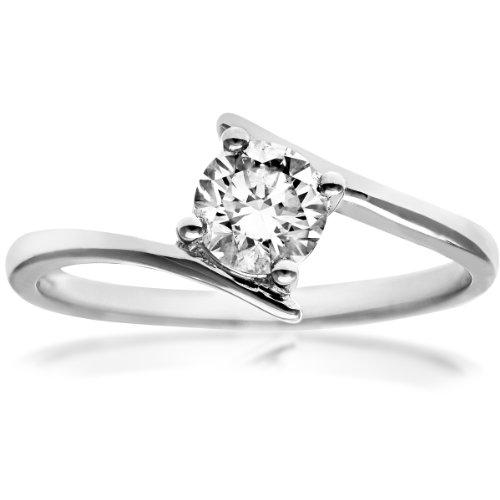 Naava Women's 18 ct White Gold J/I1 Round Brilliant 0.50 ct Diamond Crossover Solitaire Engagement Ring, Size L