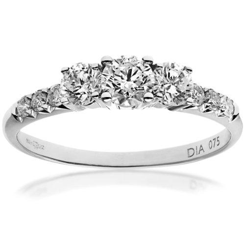 Naava Round Brilliant IJ/I Certified Diamonds 18 ct White Gold Trilogy Engagement Ring 3xmFzO87R