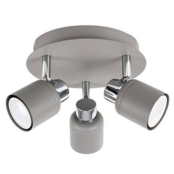 Modern Cement / Stone Effect and Polished Chrome 3 Way Round Plate Ceiling Spotlight
