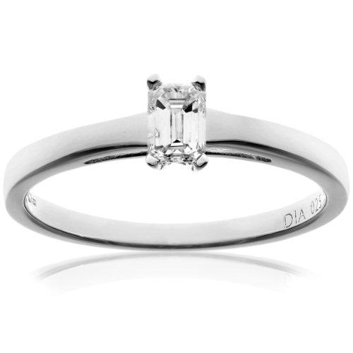 Naava Women's 18 ct White Gold J/I1 Certified Emerald Cut 0.25 ct Diamond Solitaire Engagement Ring, Size P